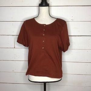 New Free People What's Up Henley Short Sleeve Rust